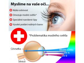 Modrý designový LED panel 600x600mm 48W teplá bílá