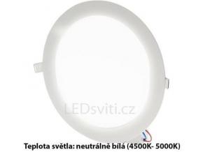 bílý kruhový vestavný LED panel 225mm 18W denní bílá