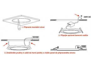 Bílý vestavný LED panel 120 x 120mm 6W teplá bílá