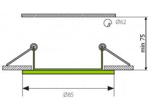 Chrom vestavné podhledové LED svítidlo 7W teplá bílá IP44 230V