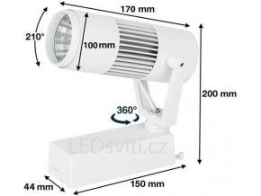 Bílý 1-fázový lištový LED reflektor 20W denní bílá