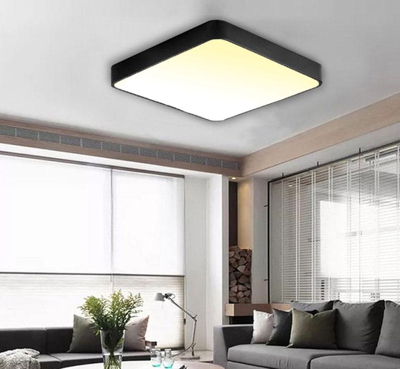 Čierny dizajnový LED panel 500x500mm 36W teplá biela