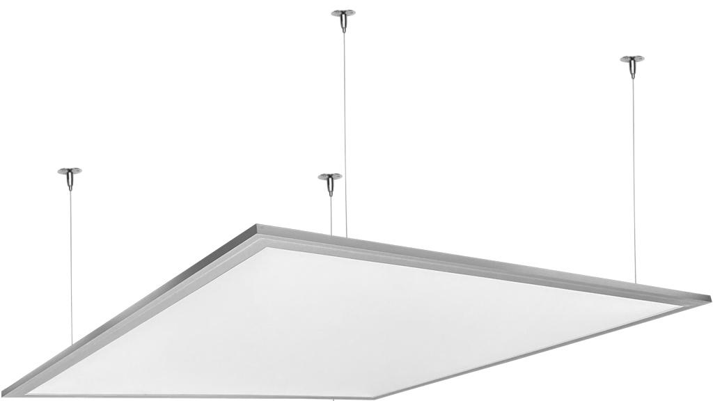 Strieborný závesný LED panel 600 x 600mm 45W neutrálna biela 6300lm