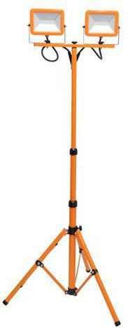 Oranžový LED reflektor s teleskopickým stojanom 2 x 30W denná biela