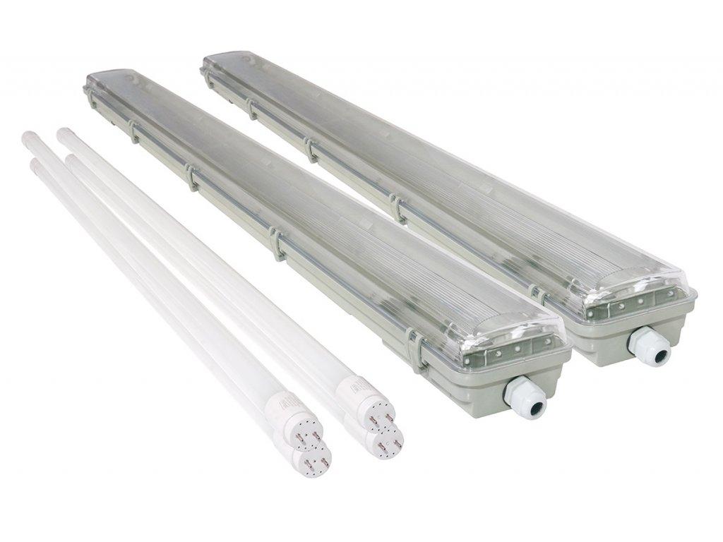 2x Svítidlo + 4x LED trubice - T8 - 120cm - 72W - neutrální bílá - SADA - ver2