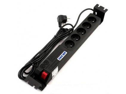 """Rozvodný panel Acar 504 WF 3m Rack 5x230V včetně vaničky 1,5U pro 19"""" s přepěťovou ochranou"""