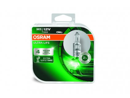 OSRAM autožárovka H1 ULTRA LIFE 12V 55W P14,5s (Duo-Box)