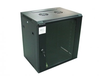 """RACK 19"""" nástěnný ZETA 12U 600x450 RAL9004, dveře sklo k samosestavení, černý"""