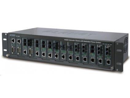"""Planet MC-1500R, 15 slotů pro media konverotry, 19""""/2,5U, napájení AC 230V, možno dokoupit DC 48V zdroj (redundance)"""