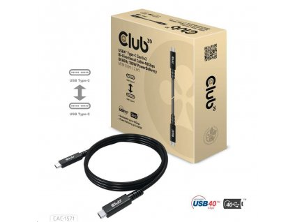Club3D Kabel USB4 Type-C Gen3x2, Bi-Directional Cable 40Gbps 8K60Hz, 100W PowerDelivery M-M, 0.8m - 2.62ft