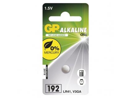 Alkalická knoflíková baterie GP LR41 (192F), 1 ks