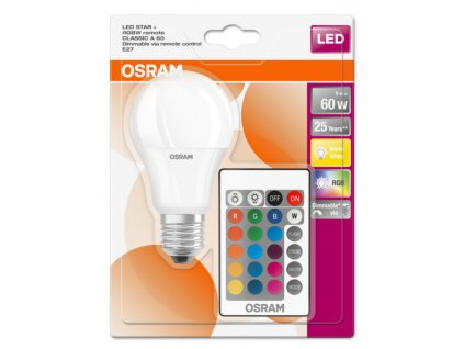 OSRAM LED STAR+ CL A RGBW Fros. 9W 827 E27 806lm 2700K (CRI 80) 25000h A+ DIMmable Rem Ctrl (Blistr 1ks)