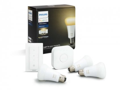 PHILIPS Hue Startovací KIT, White Ambiance ( 3x žárovka 9,5W A60 E27 DIM + bridge + 1x ovladač se stmíváním )
