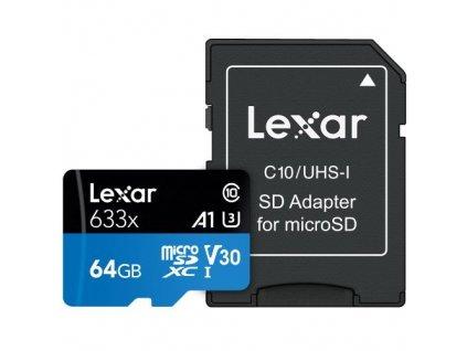 LEXAR Micro SD card SDXC 64GB High-Performance 633x UHS-I + SD adaptér
