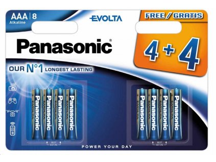 PANASONIC Alkalické baterie EVOLTA Platinum LR03EGE/8BW 4+4F AAA 1,5V (Blistr 8ks)