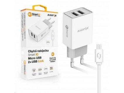 Aligator síťová nabíječka, 2x USB, kabel micro USB 2A, smart IC, 2,4 A, bílá
