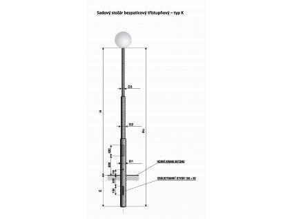 Stožár K 5 ŽZ sadový bezpaticový - pouliční sloup veřejného osvětlení