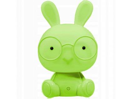 LED dětská lampa Králík zelený 2,5W - teplá bílá - 230V / USB