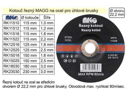 INNA Kotouč RK 115/1,2 115mm řezací na ocel