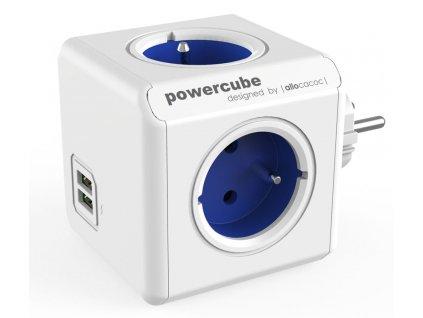 ALLOCACOC Rozbočka PowerCube Original 4 zásuvky 250V/16A + 2 USB porty modrá