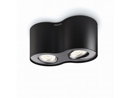 PHILIPS Svítidlo LED Phase 2x4,5W 1000lm 2700K černá IP20 53302/30/16