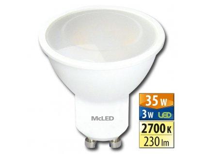 MCLED Žárovka LED 3W-35 GU10 2700K 100°