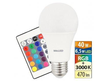 MCLED Žárovka LED 6,5W-40 E27 3000K RGB 180°