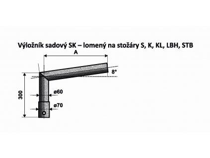 AMAKO Výložník SK 1/300 žárový zinek sadový