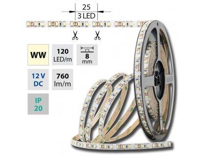 MCLED Pásek LED SMD teplá bílá 9,6W/m 12V IP20 50m