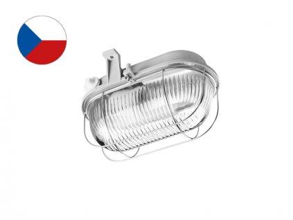 LENA Svítidlo OVAL 100W E27 kov šedá IP44