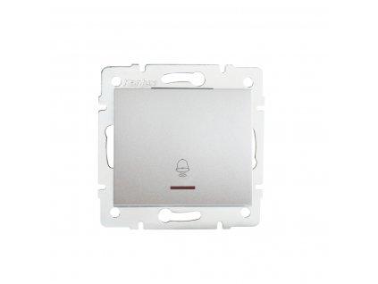 Tlačítko LOGI zvonkové s LED - stříbrné