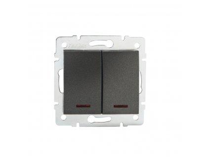 Tlačítko LOGI dvojité s LED - grafit