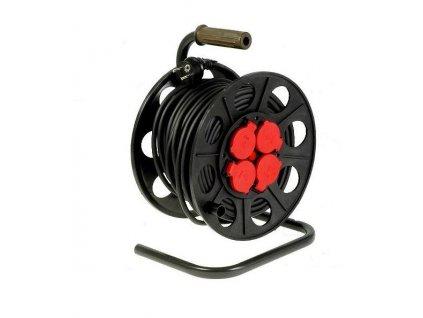 JONEX Přívod prodlužovací 25m, 4 zásuvky, s bubnem, černá