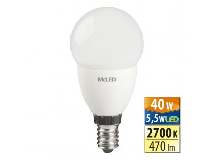 MCLED Žárovka LED 5,5W-40 E14 2700K 180° iluminační