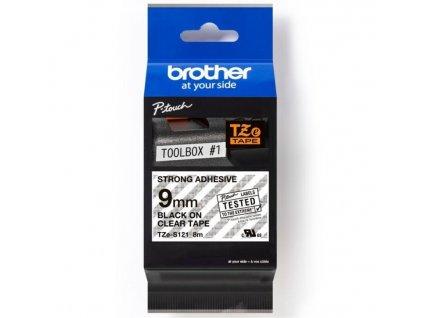 BROTHER Páska TZe-S121 9mm průsvitná/černá
