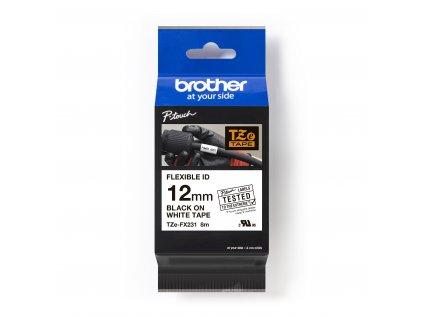 BROTHER Páska TZe-FX 231 12mm černá/bílá