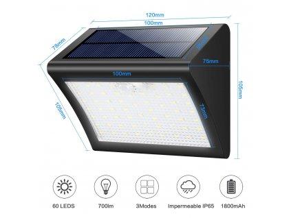 Venkovní solární LED světlo s pohybovým senzorem V60