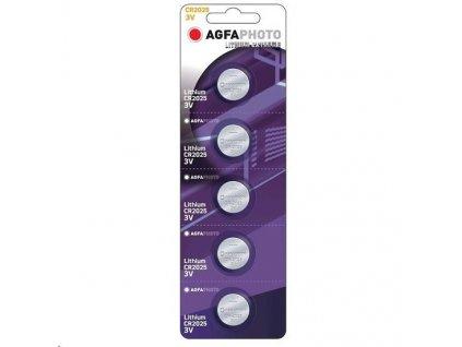AgfaPhoto knoflíková lithiová baterie CR2025, blistr 5ks