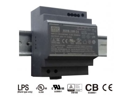 HDR-100-24 Mean Well Zdroj na DIN 92W 24V