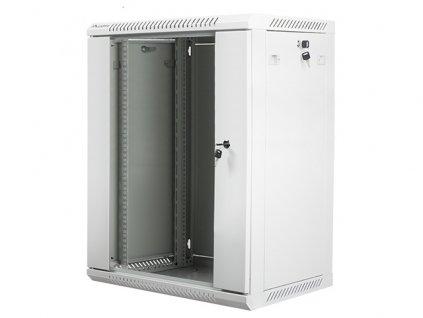 Nástěnný rack 19'' 15U 600X450mm šedý flat pack