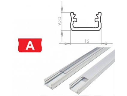 Hliníkový Profil pro LED pásky A Povrchový Bílý 1m