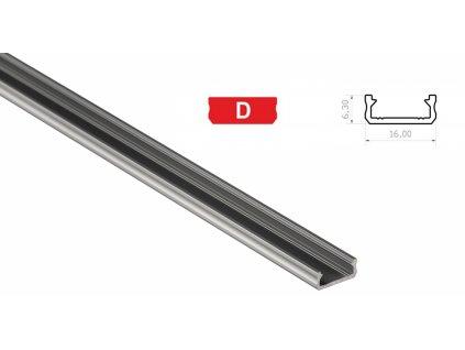 Hliníkový profil pro LED pásky D mini povrchový 1m