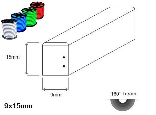 LED neon PROFI SLIM 9x15mm plochý