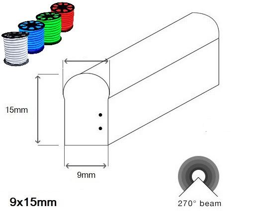 LED neon PROFI SLIM 9x15mm vystouplý