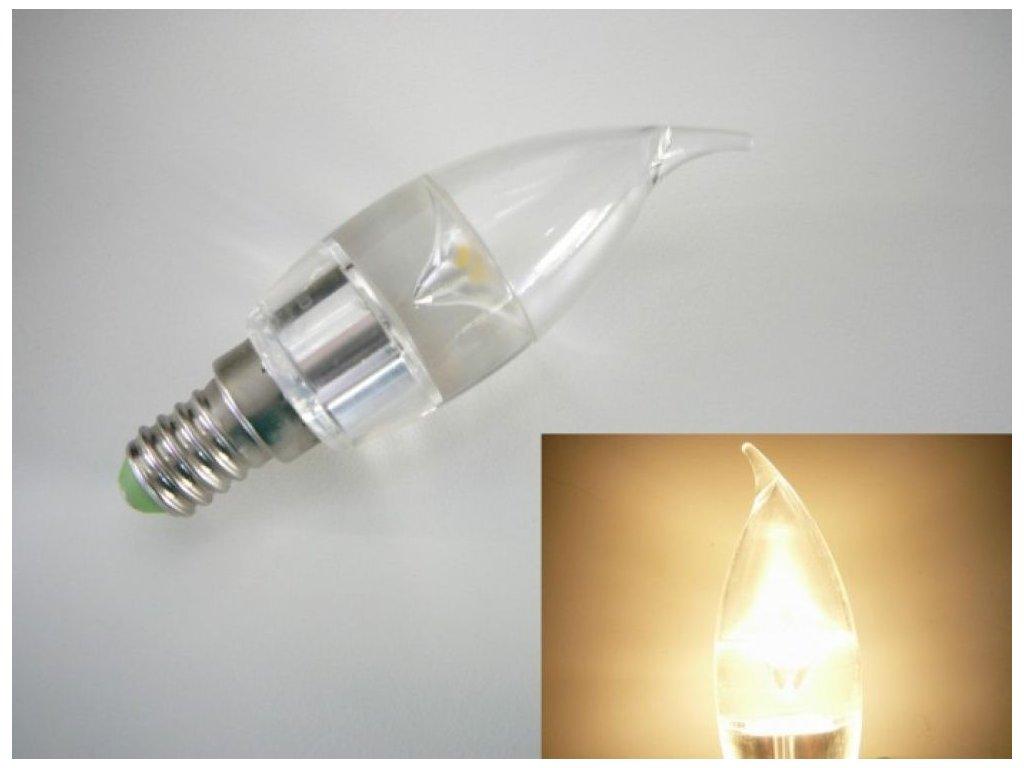 LED žárovka E14 SE3W240 čirá svíčka - Teplá bílá