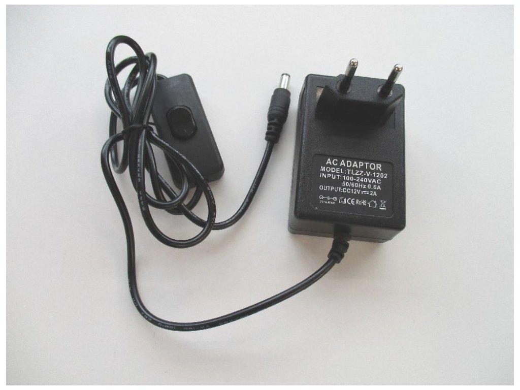 LED zdroj 12V 24W s vypínačem černý - zdroj zásuvkový 12V-24W  černý s vypínačem