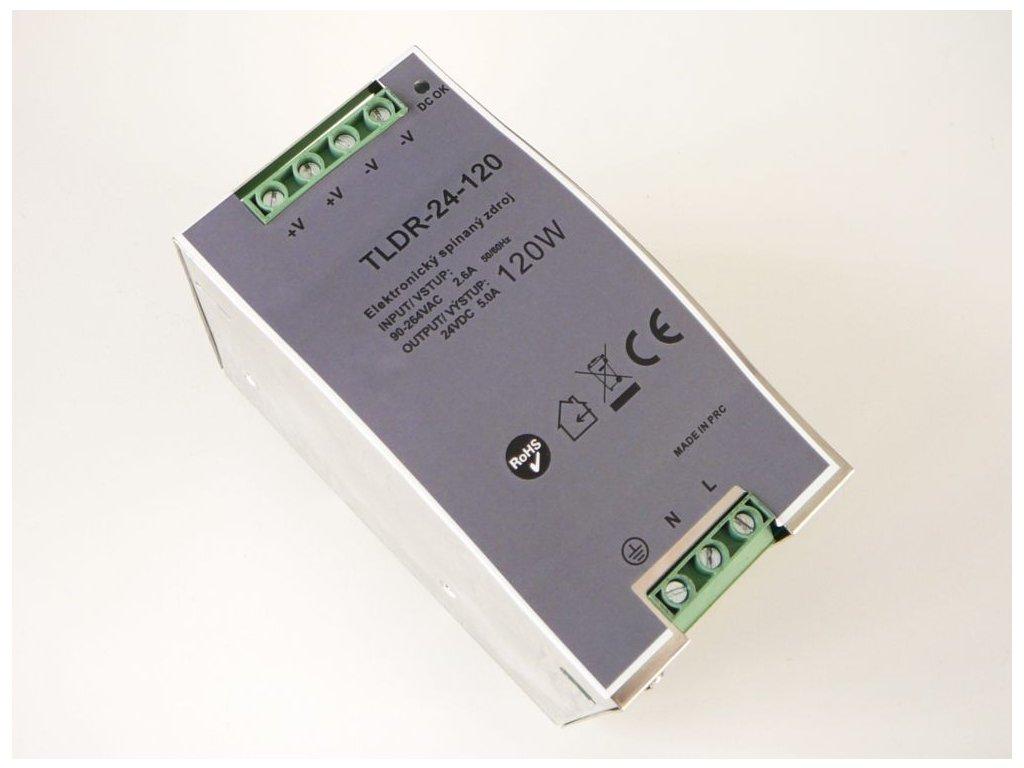 LED zdroj 24V 120W na DIN lištu - DIN lišta 24V 120W TLDR-24-120 zdroj vnitřní