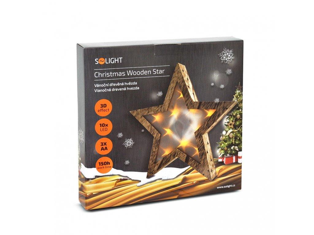 Solight LED dřevěná vánoční hvězda, 3D efekt světla, 3 x AA , teplá bílá