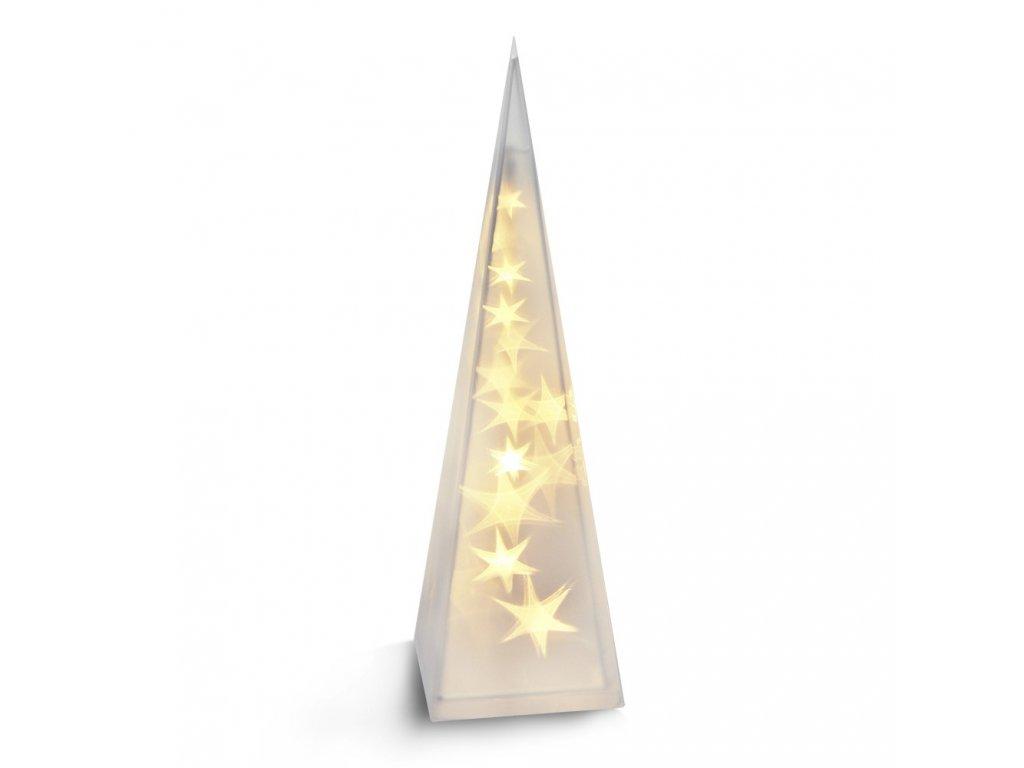 Solight LED vánoční pyramida, 3D efekt světla, 45cm, 3 x AA, teplá bílá