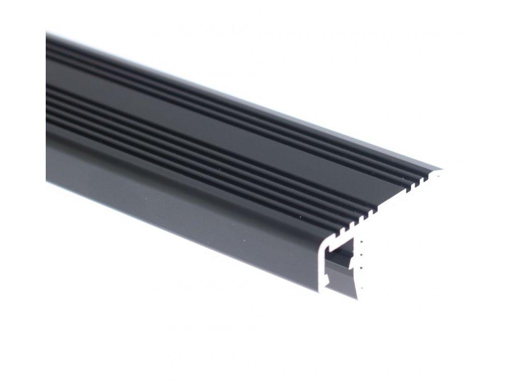 LED profil ST schodišťový černý - Profil bez krytu 2m